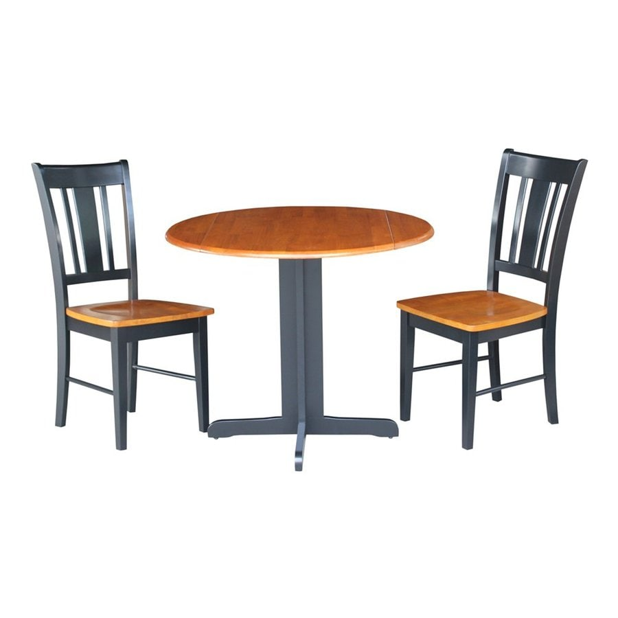 International Concepts Dining Essentials San Remo Cherry/Black Dining Set with Round Dining Table