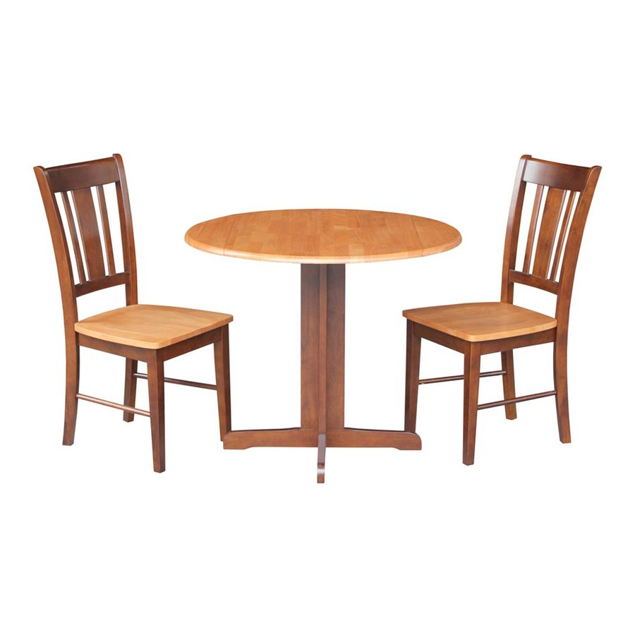 International Concepts Dining Essentials San Remo Cinnamon/Espresso Dining Set with Round Dining Table