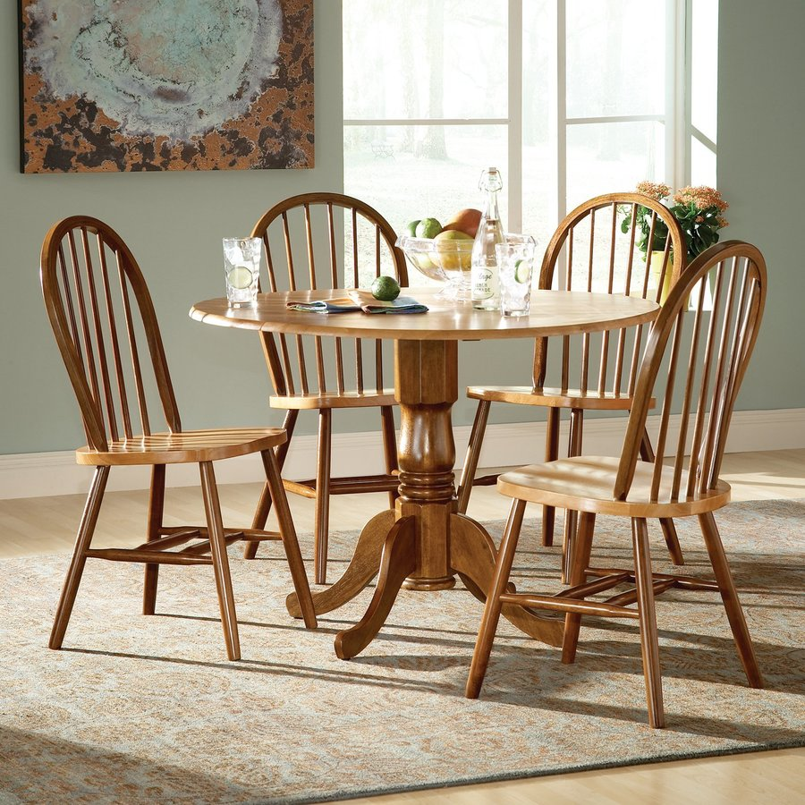International Concepts Cinnamon/Espresso 5-Piece Dining Set with Round Dining Table