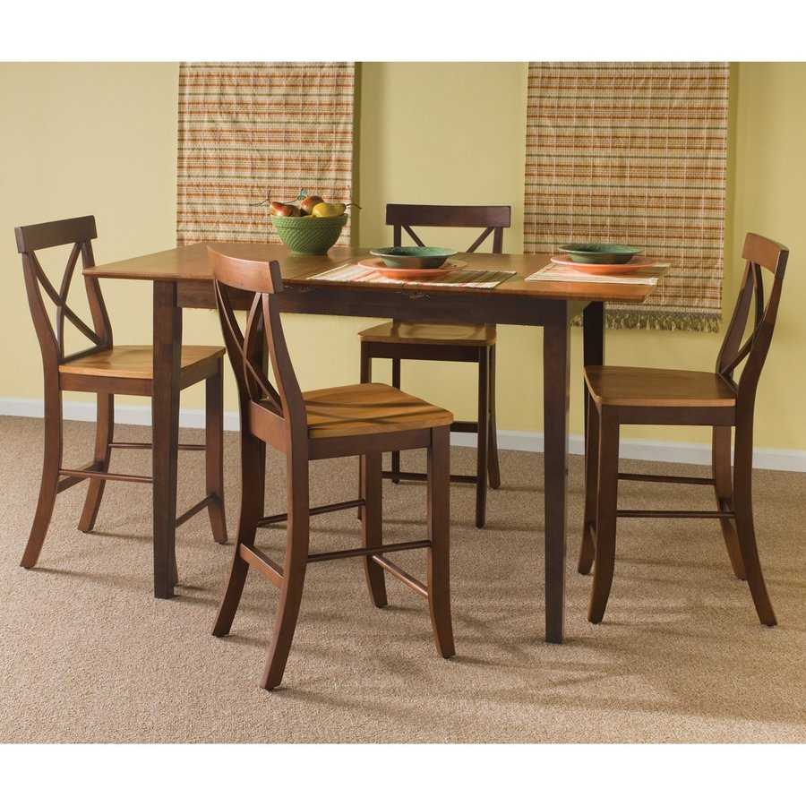 International Concepts Cinnamon/Espresso 5-Piece Dining Set with Counter Height Table