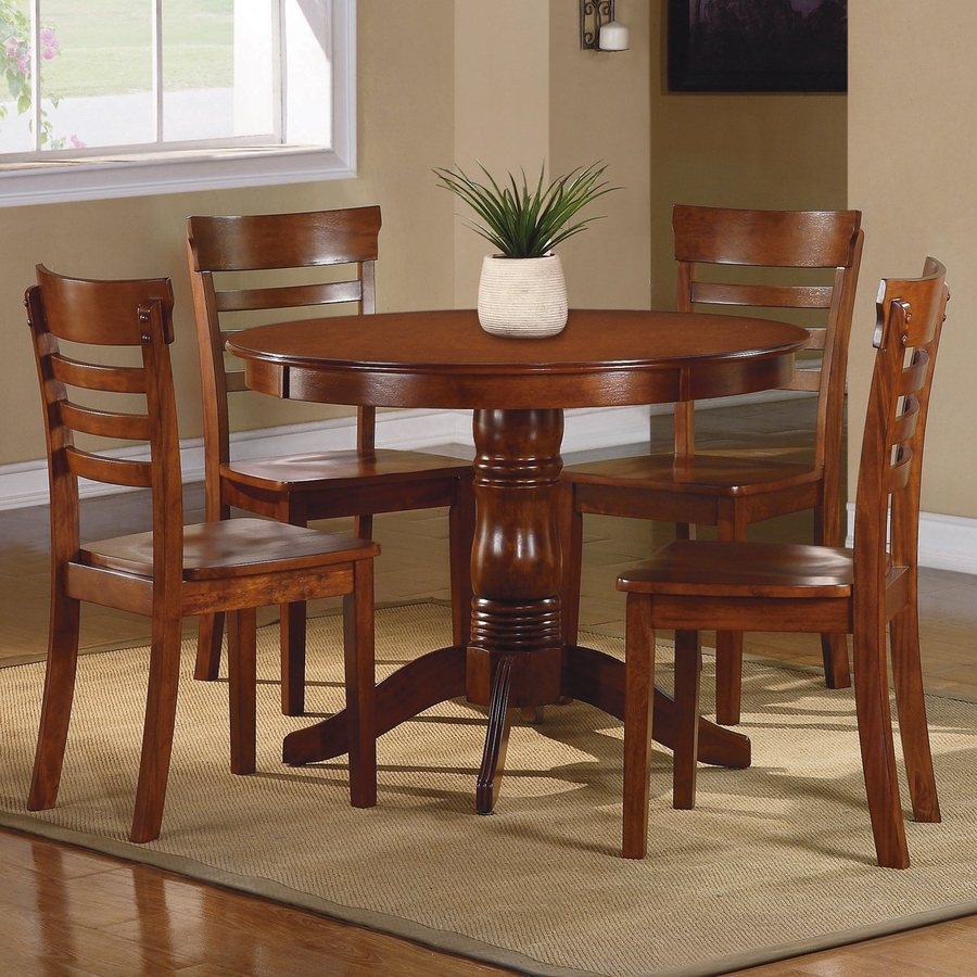 Shop homelegance wayland antique oak dining set with round for Dining room tables lowes