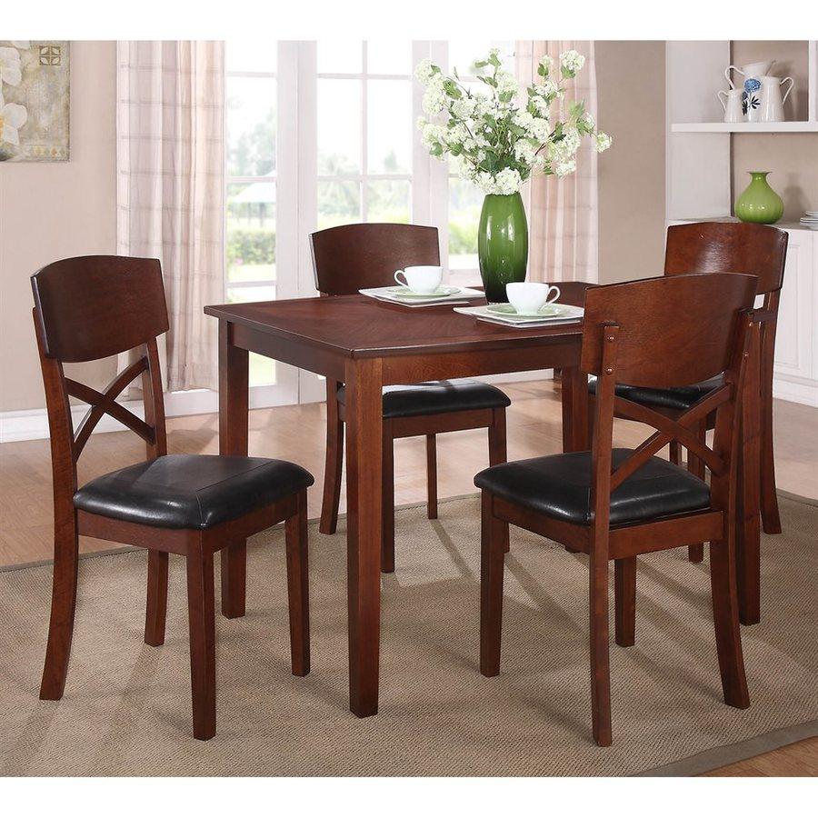 Homelegance Jonas Medium Cherry 5-Piece Dining Set with Dining Table