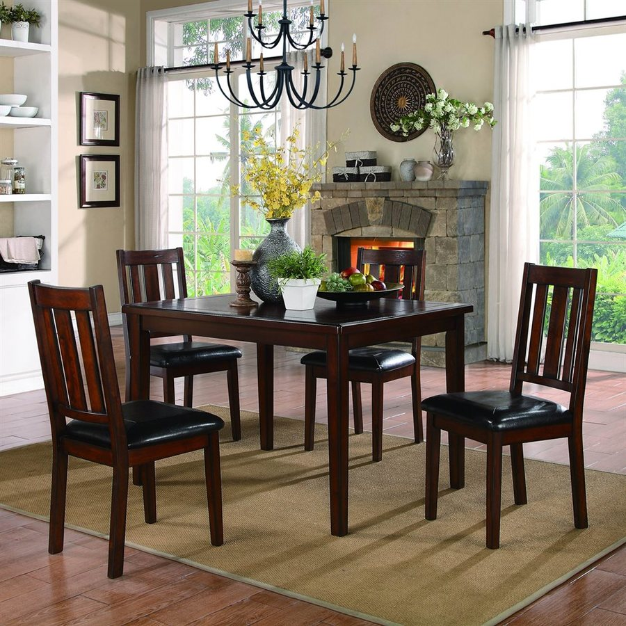 Homelegance Mosely Dark Brown Cherry 5-Piece Dining Set with Dining Table