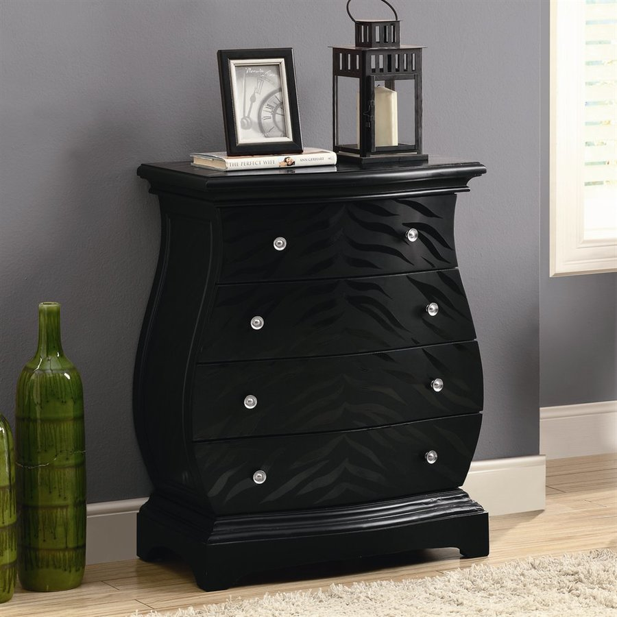 Monarch Specialties Bombay Black Tiger 4-Drawer Accent Chest