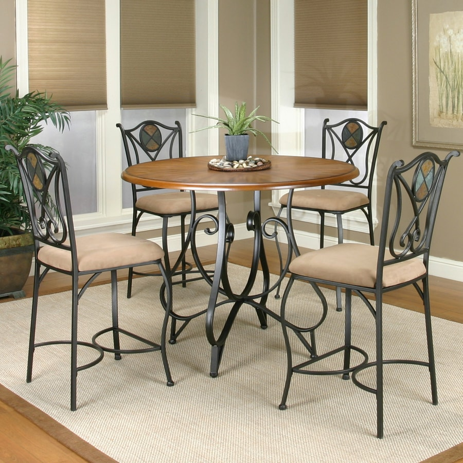 Sunset Trading Vail Rustic medium Oak 5-Piece Dining Set with Round Counter Height Table