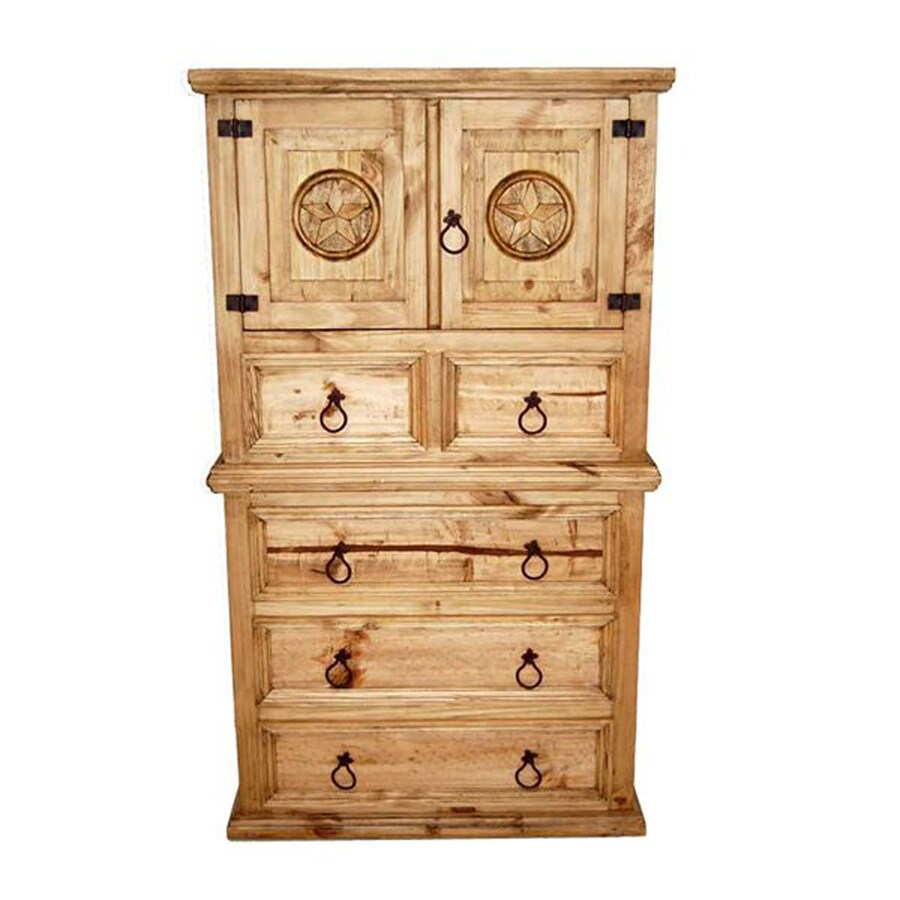 Million Dollar Rustic Mansion Star Natural Pine 4-Drawer Accent Chest