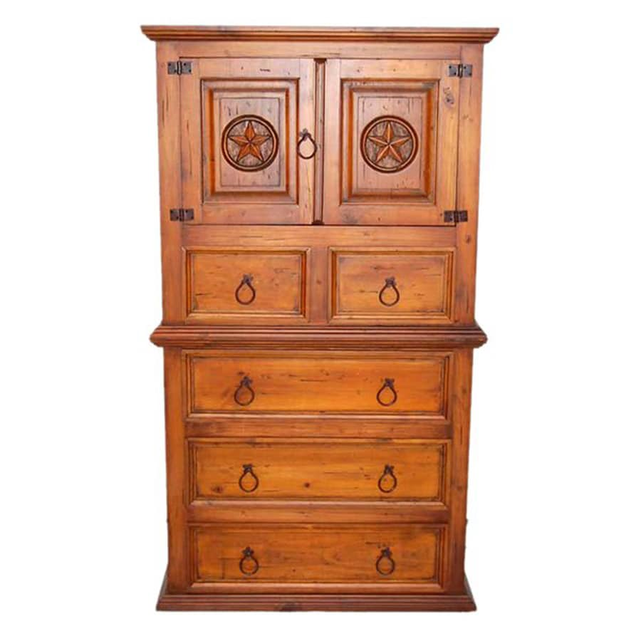Million Dollar Rustic Estate Star Chestnut Pine Accent Chest