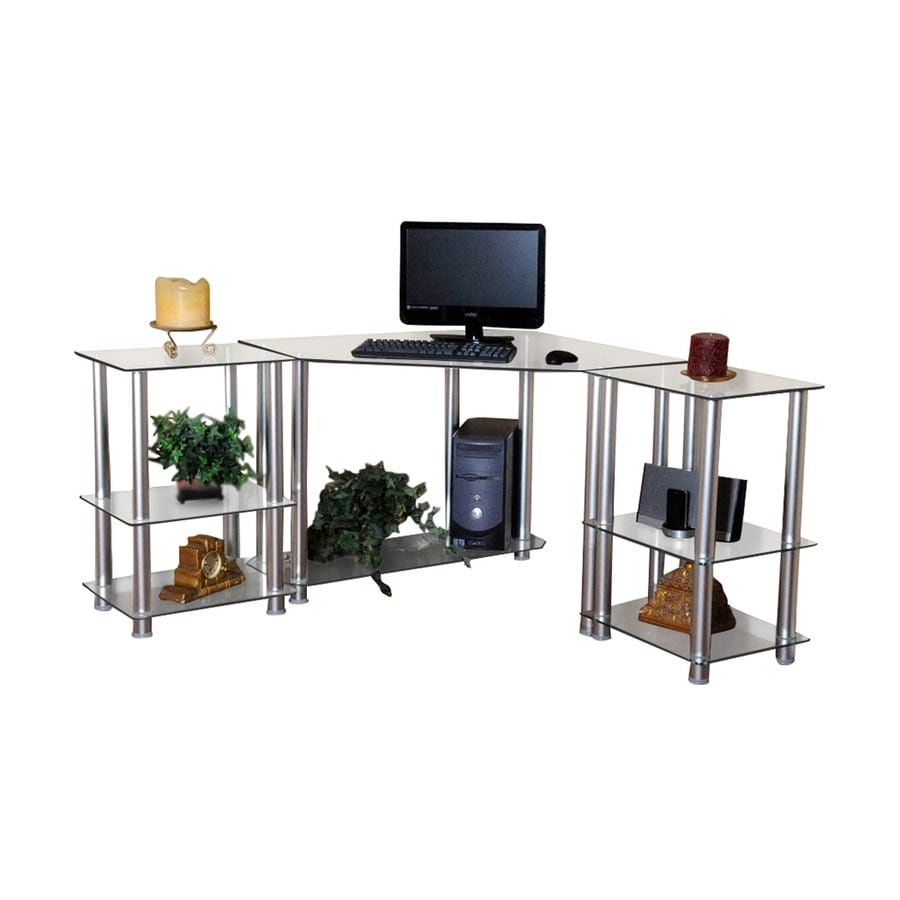 RTA Home & Office Contemporary Clear Computer Desk