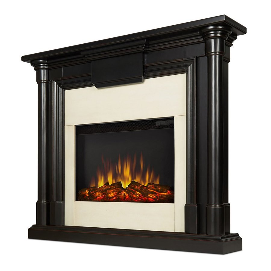 Real Flame 47.6-in W 4700-BTU Blackwash Mdf Flat Wall LED Electric Fireplace with Media Mantel with Thermostat and Remote Control Included