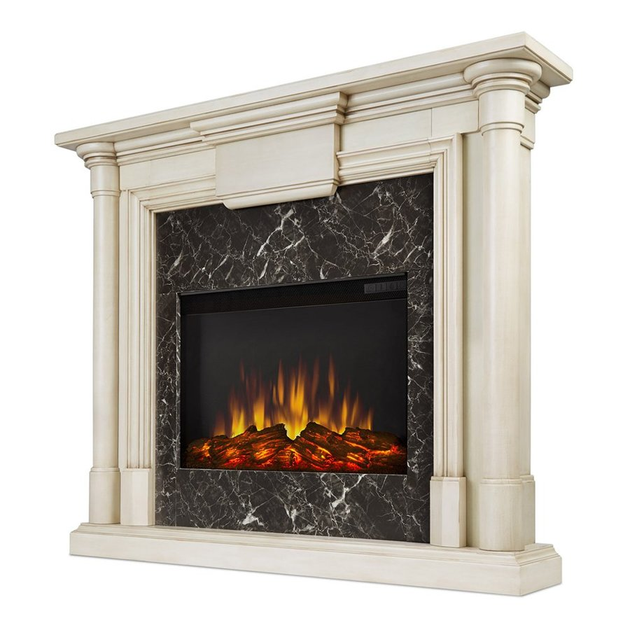 Real Flame 47.6-in W 4700-BTU Whitewash Mdf Flat Wall LED Electric Fireplace with Media Mantel with Thermostat and Remote Control Included