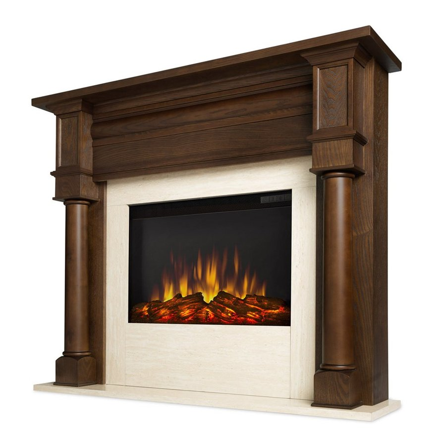 Real Flame 47-in W 4700-BTU Chestnut Oak Mdf Flat Wall LED Electric Fireplace with Media Mantel with Thermostat and Remote Control Included