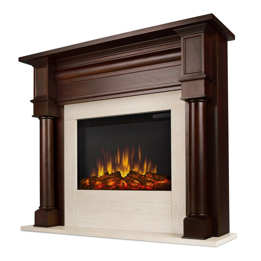 Real Flame 47-in W 4700-BTU Dark Walnut Mdf Flat Wall LED Electric Fireplace with Media Mantel with Thermostat and Remote Control Included