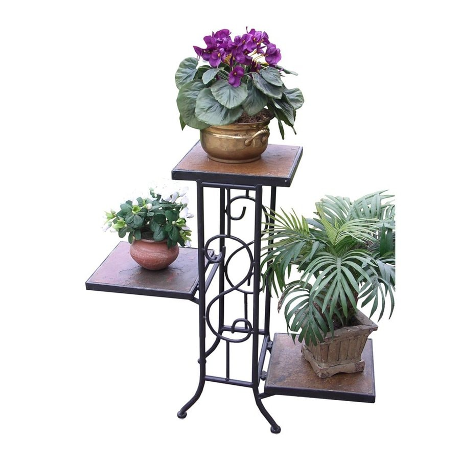 4D Concepts 22.4-in Antique Tuscany Indoor/Outdoor Rectangular Slate Plant Stand