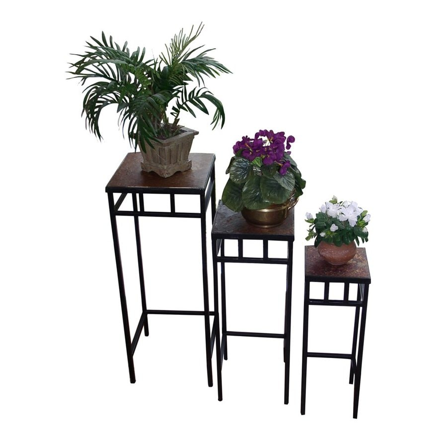 4D Concepts 27.5-in Black Indoor/Outdoor Square Slate Plant Stand