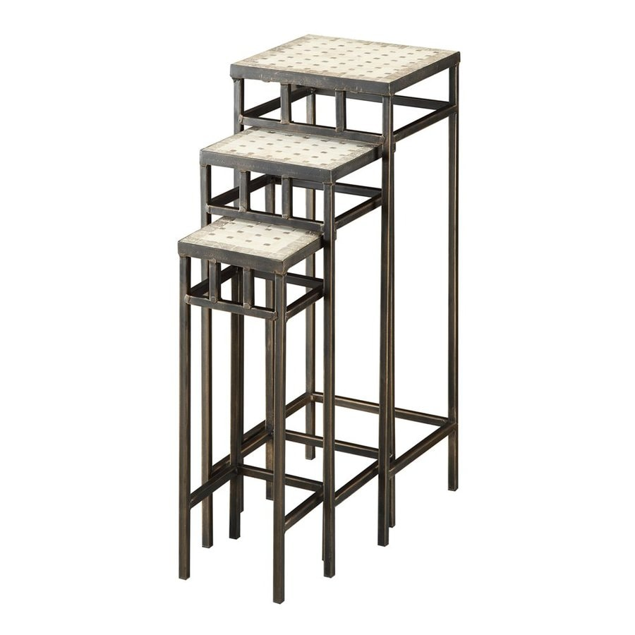 4D Concepts 27.5-in Antique Tuscany Indoor/Outdoor Square Tile Plant Stand