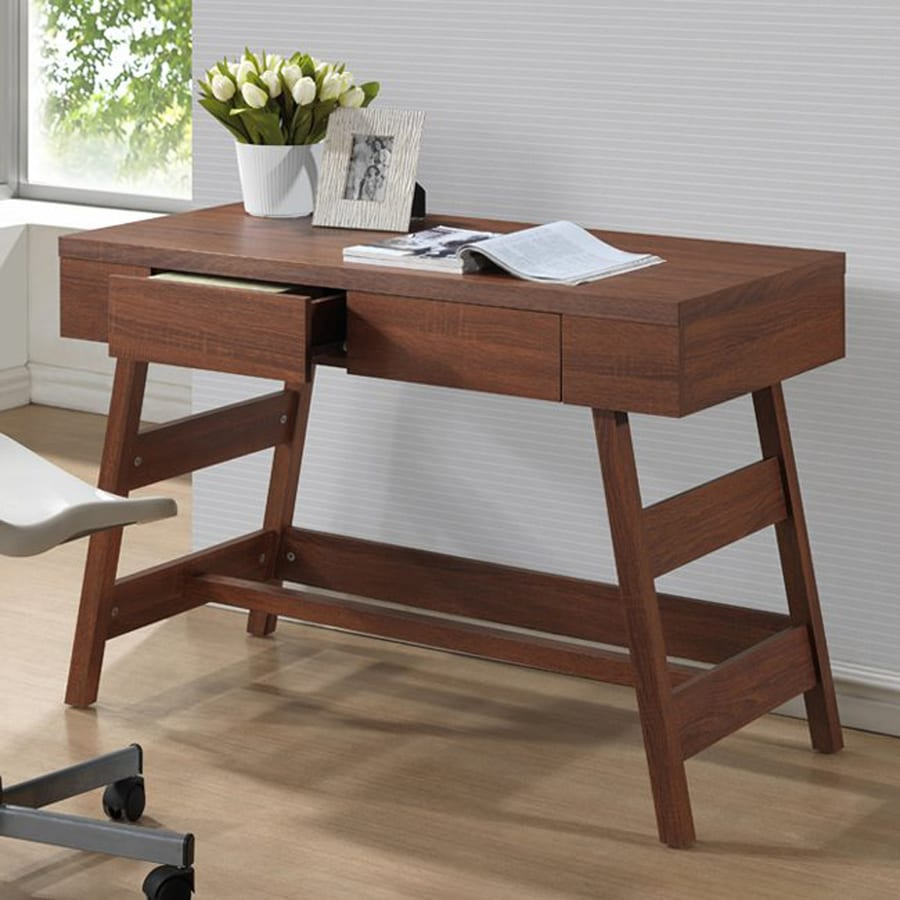 Baxton Studio Trapezoid Contemporary Sonoma Oak Writing Desk