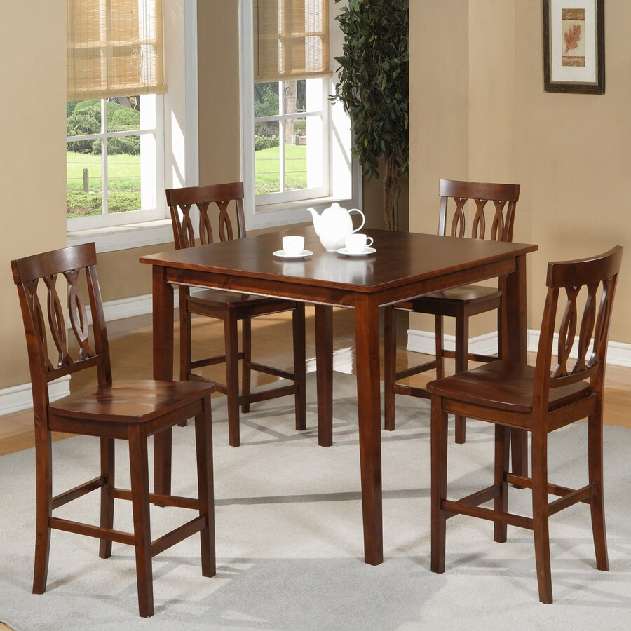 William's Home Furnishings Espresso 5-Piece Dining Set with Counter Height Table