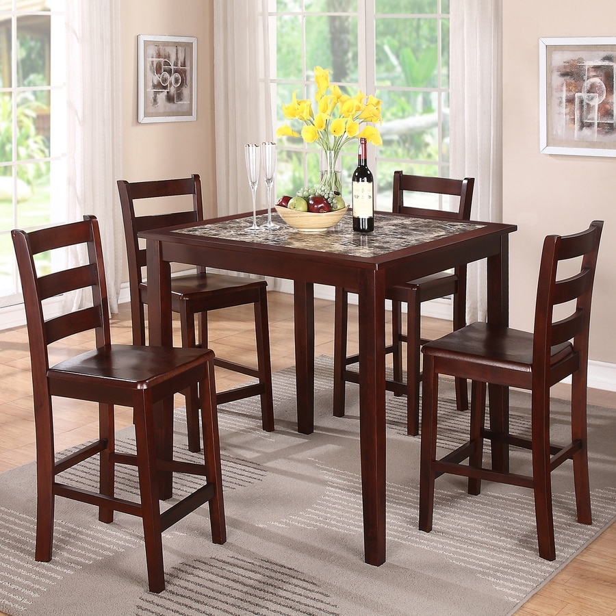 Williamu0027s Home Furnishings Espresso 5 Piece Dining Set With Counter Height  Table