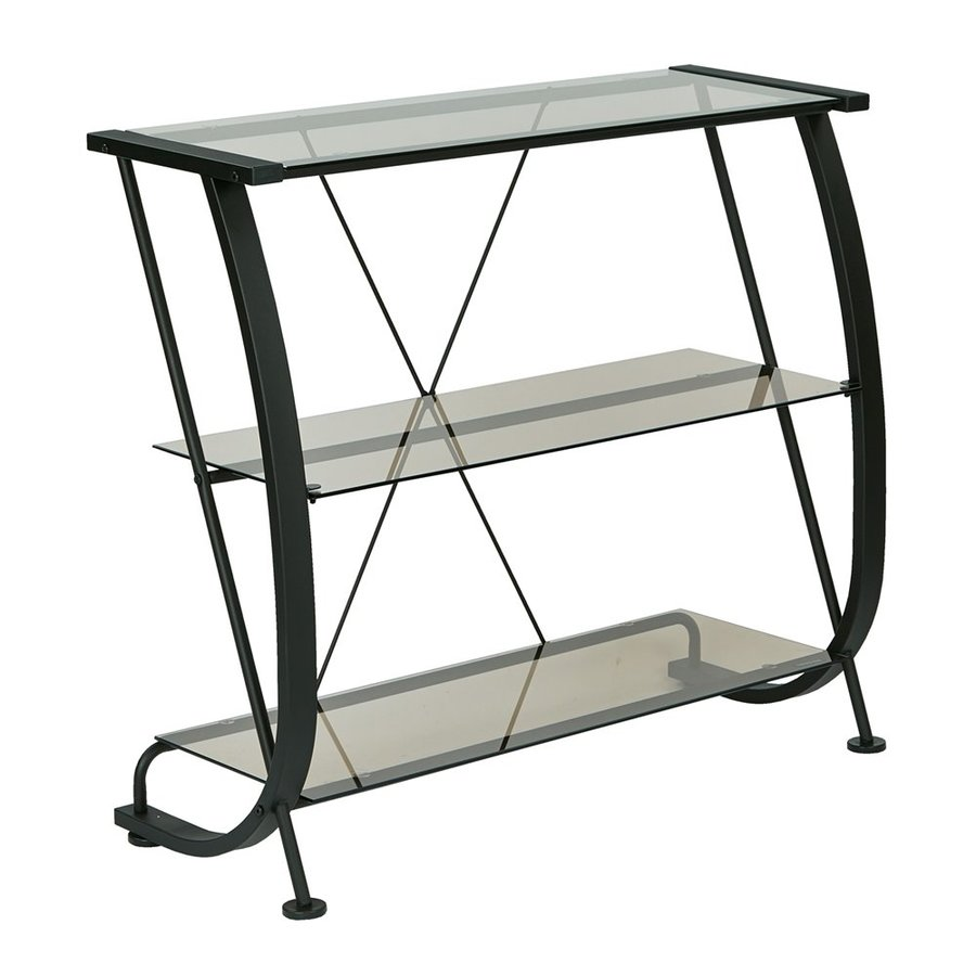 Office Star Horizon Black Metal 3-Shelf Bookcase