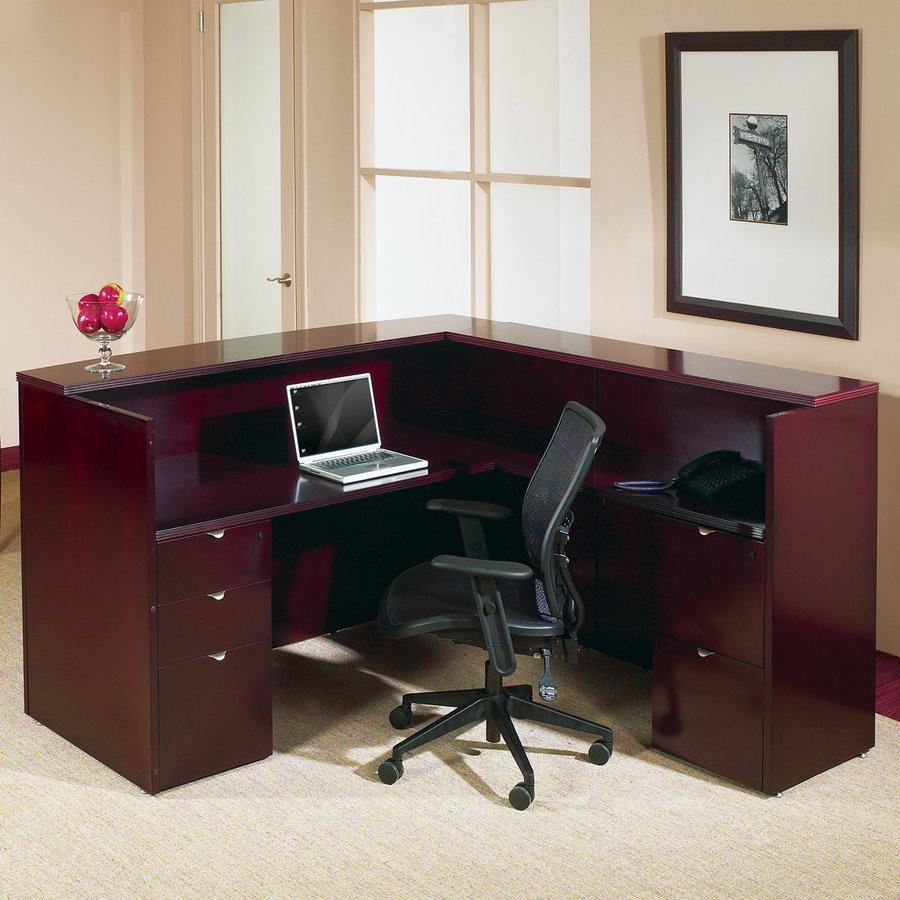 Office Star OSP Furniture Kenwood Mahogany L-Shaped Desk