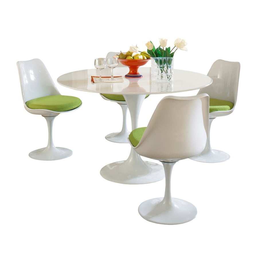 Modway Lippa Gloss White Dining Set with Round Dining Table