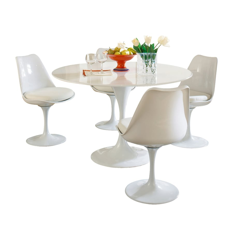 Modway Lippa Gloss White 5-Piece Dining Set with Round Dining Table