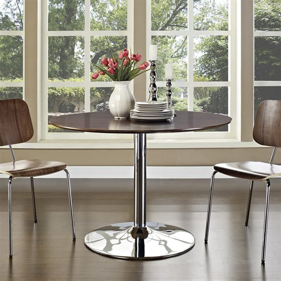 Modway Rostrum Walnut 3-Piece Dining Set with Round Dining Table