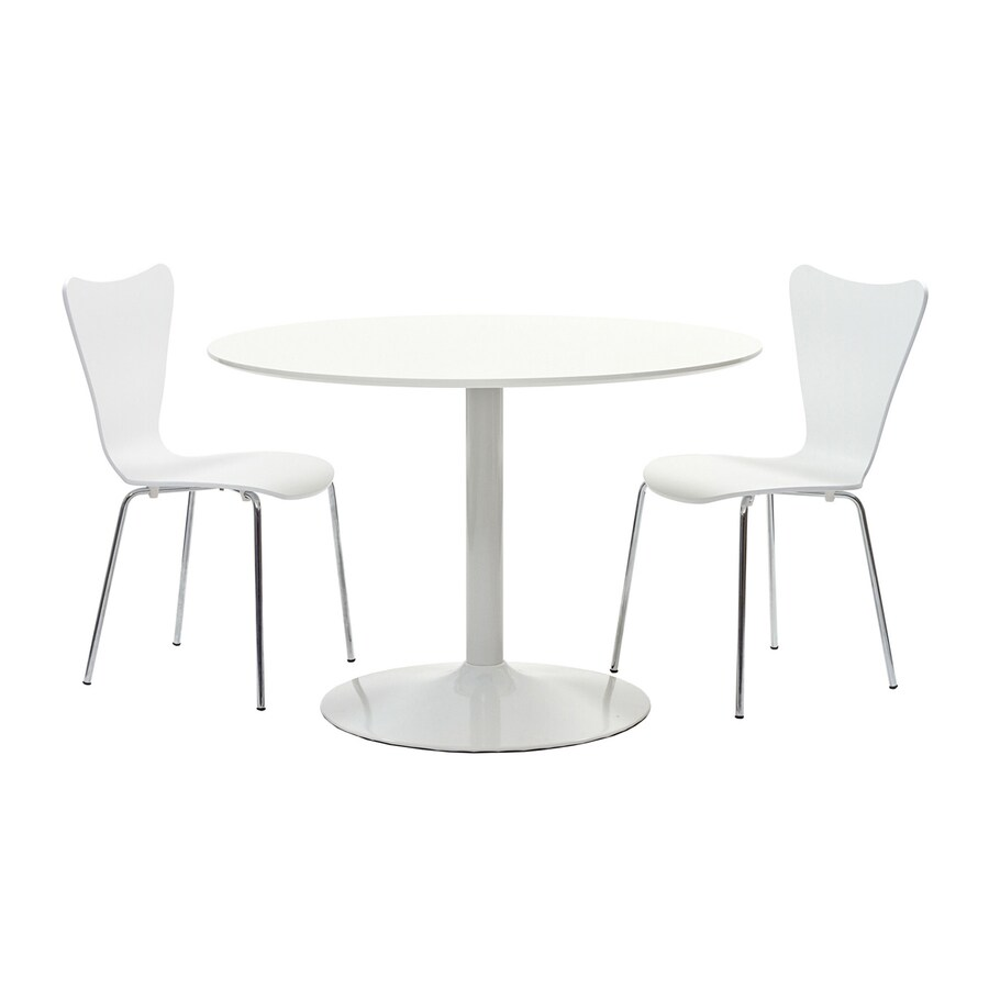 Modway Revolve White 3-Piece Dining Set with Round Dining Table