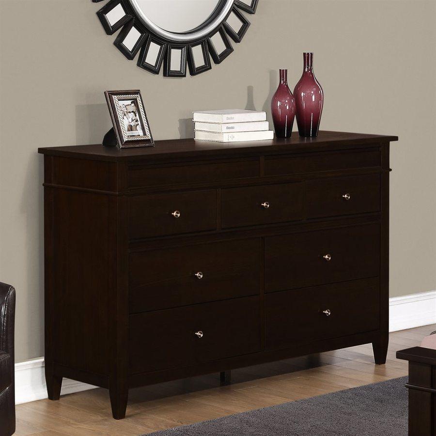 Simpli Home Carlton Tobacco Brown 9-Drawer Double Dresser