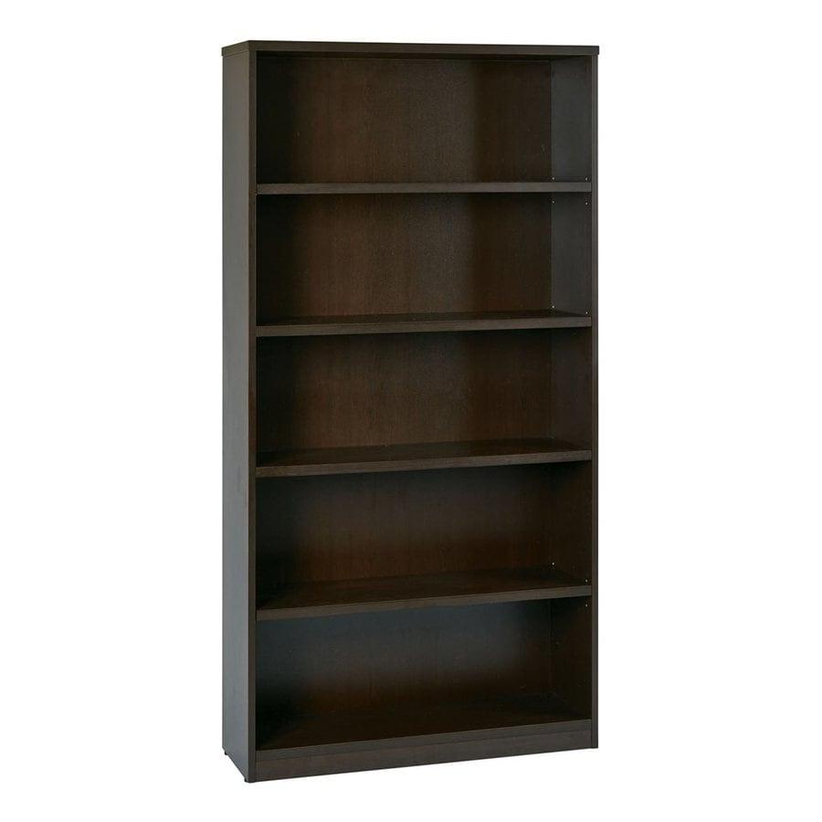 Office Star Espresso Composite 5-Shelf Bookcase