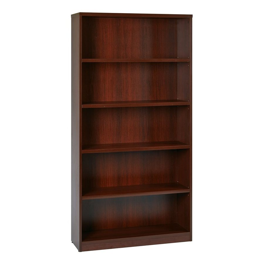 Office Star Mahogany Composite 5-Shelf Bookcase