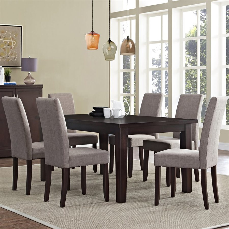Simpli Home Acadian Java Brown 7-Piece Dining Set with Dining Table