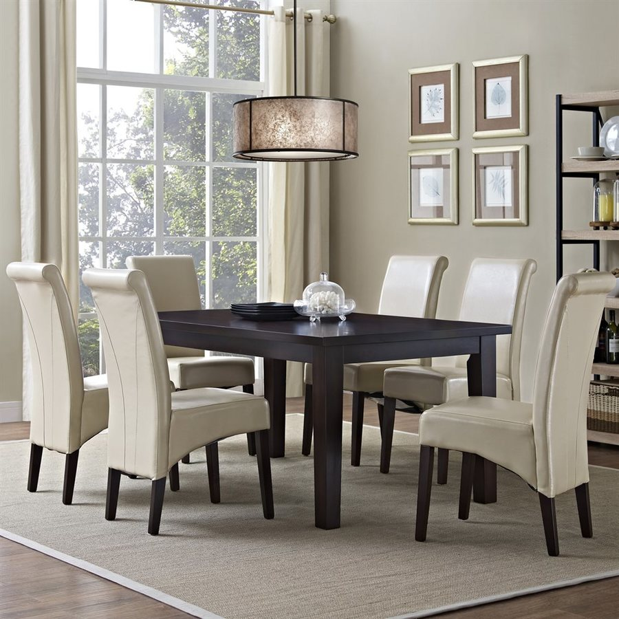 Simpli Home Avalon Java Brown 7-Piece Dining Set with Dining Table