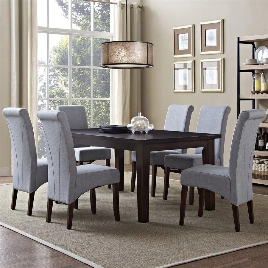 Simpli Home Avalon Java Brown Dining Set with Rectangular Table
