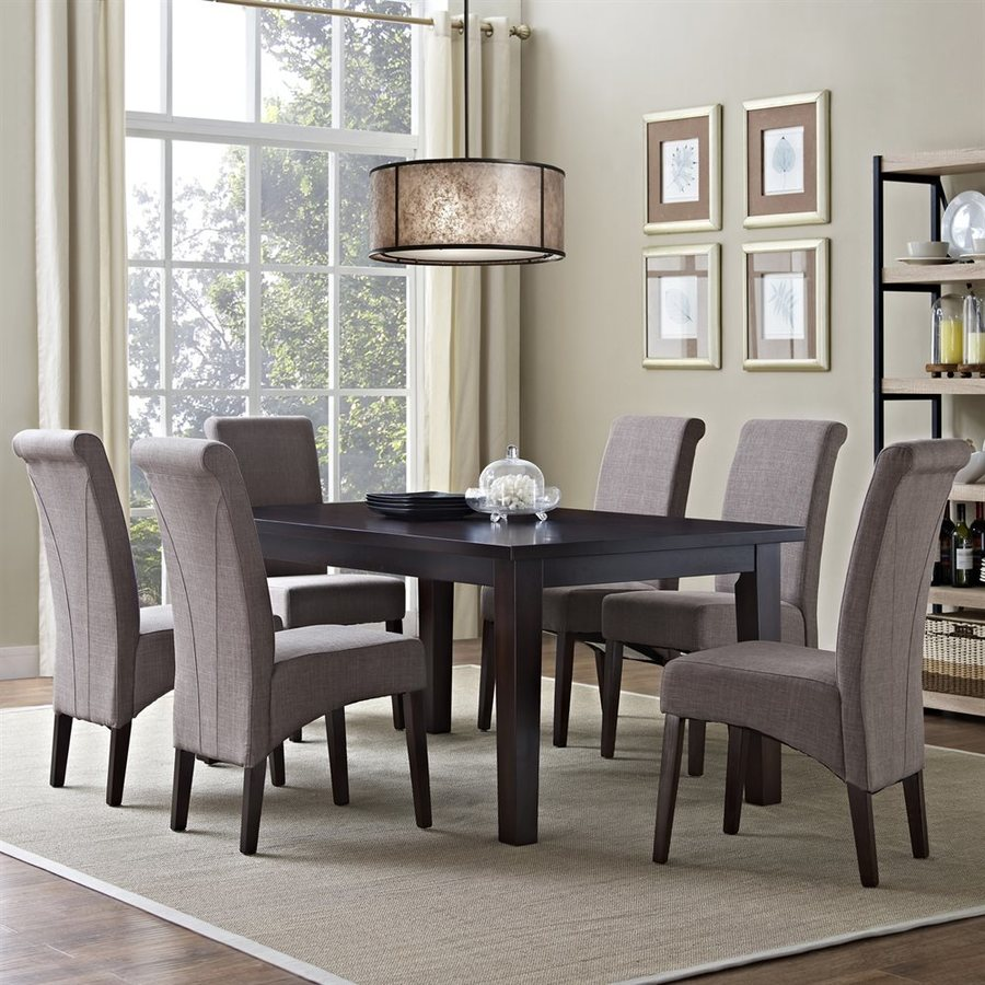 Simpli Home Avalon Java Brown Dining Set with Rectangular Table