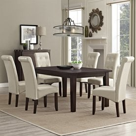 Lovely Simpli Home Cosmopolitan Java Brown 7 Piece Dining Set With Dining Table