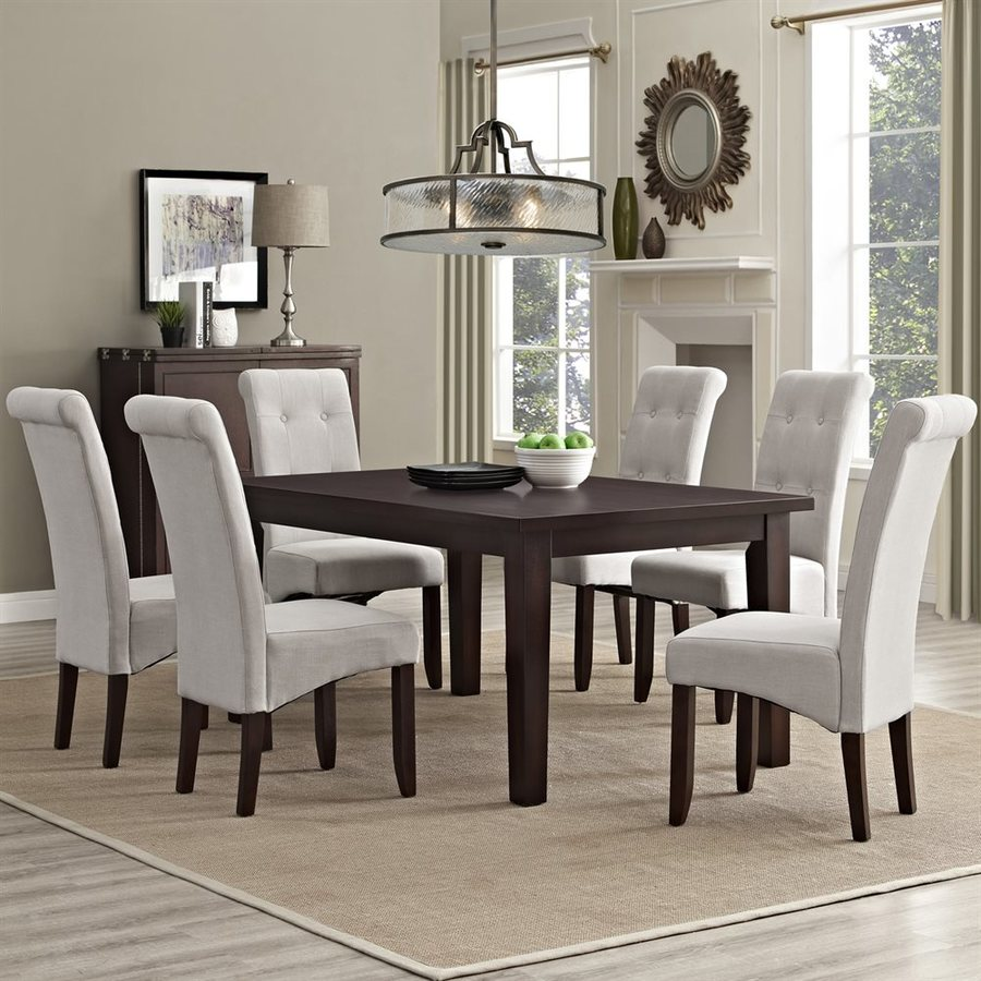 Simpli Home Cosmopolitan Java Brown 7-Piece Dining Set with Dining Table