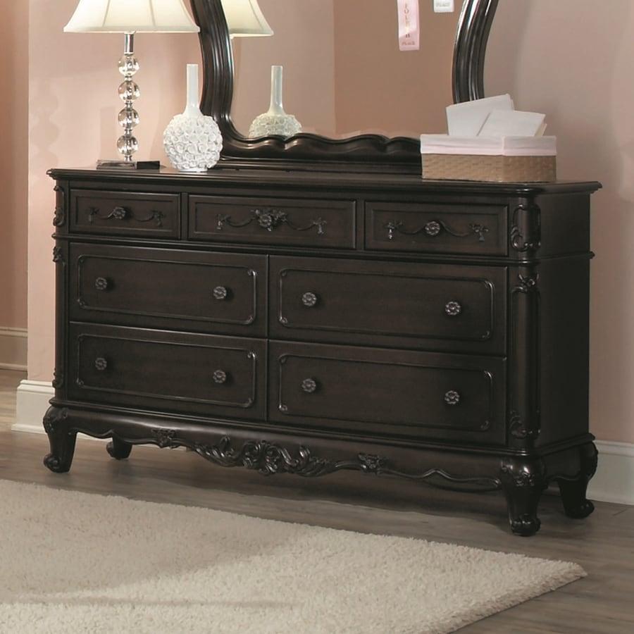 Homelegance Cinderella Dark Cherry 7-Drawer Double Dresser