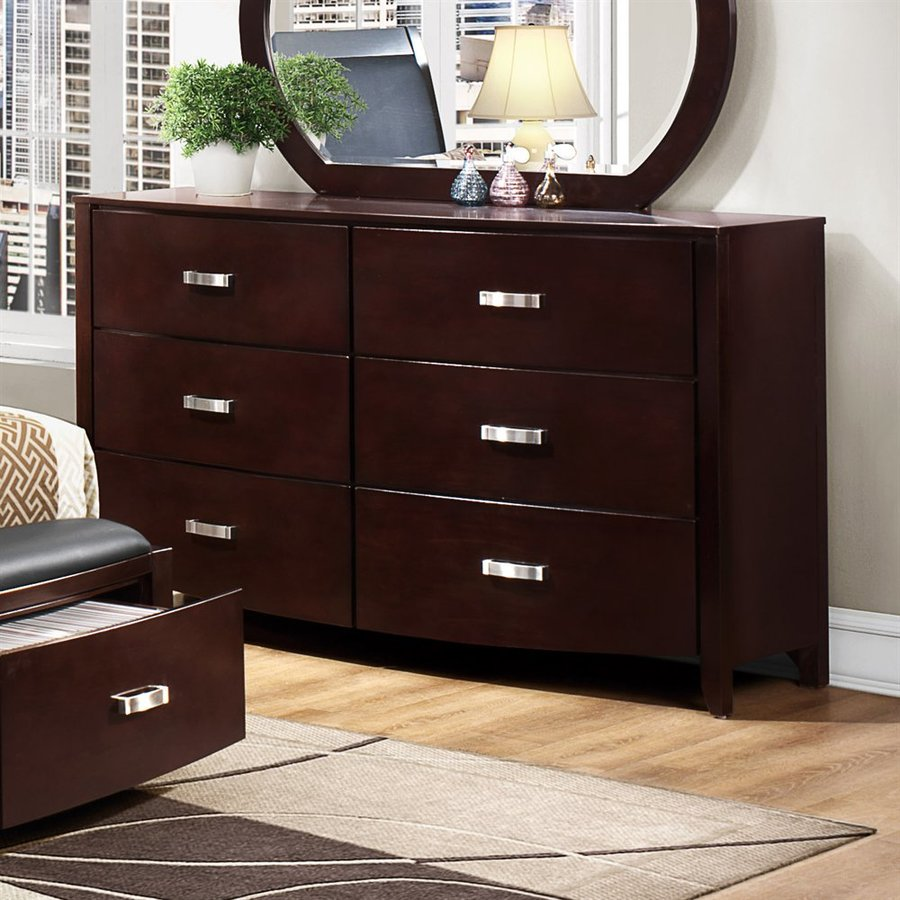 Homelegance Lyric Dark Espresso Rubberwood 6-Drawer Double Dresser
