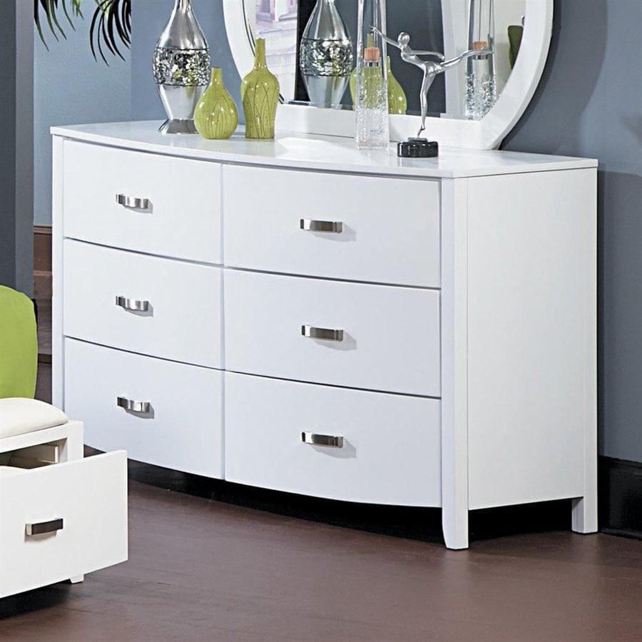 Homelegance Lyric Glossy White Rubberwood 6-Drawer Double Dresser
