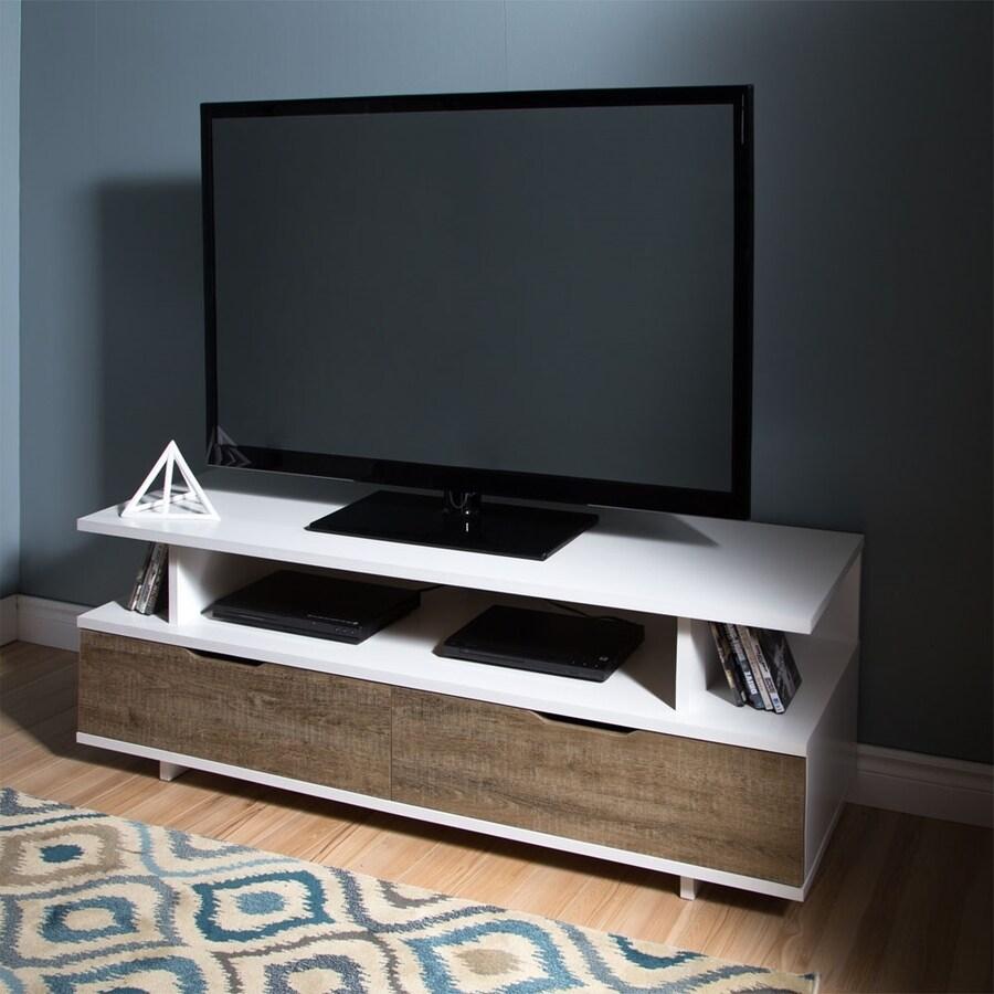 South Shore Furniture Reflekt Pure White/Weathered Oak TV Cabinet
