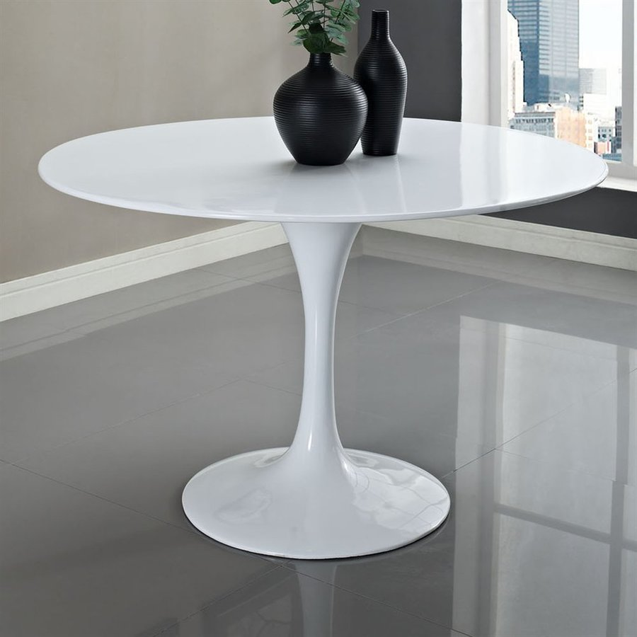 Superbe Modway Lippa White Fiberglass Round Dining Table