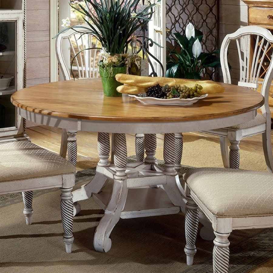 Hillsdale Furniture Wilshire Pine Wood Round Extending Dining Table