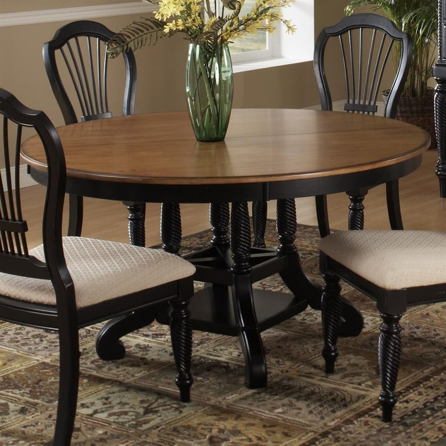 Dining Table And Chairs Dark Pine And White With Extending: Hillsdale Furniture Wilshire Pine Wood Round Extending