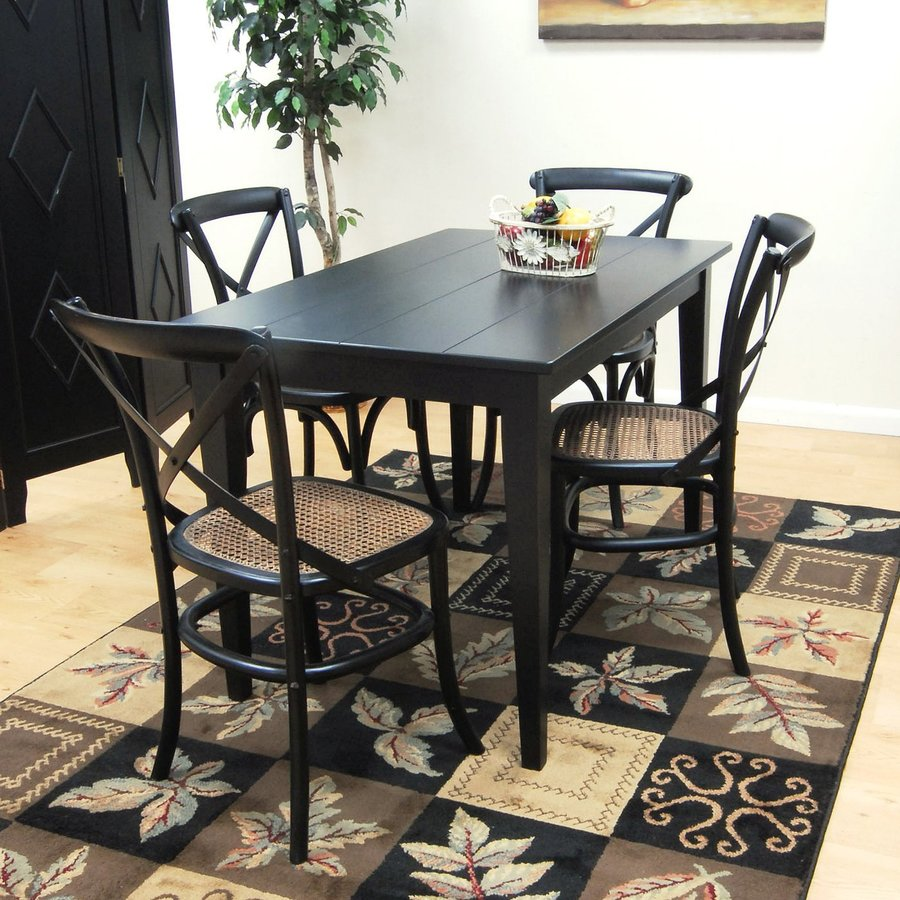 CAROLINA COTTAGE Prairie Antique Black Wood Dining Table