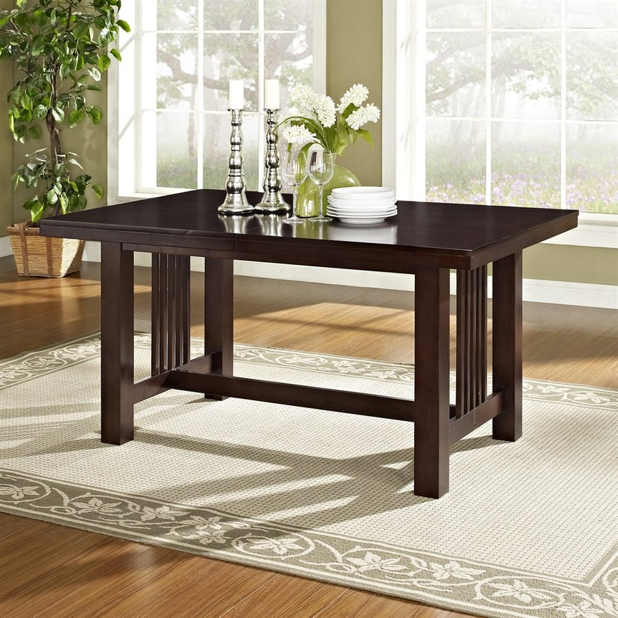 Walker Edison Meridian Cappuccino Wood Extending Dining Table