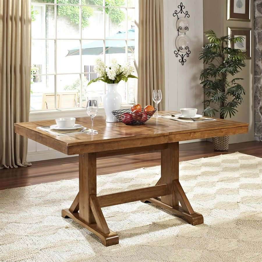 Walker Edison Antique Brown Wood Extending Dining Table