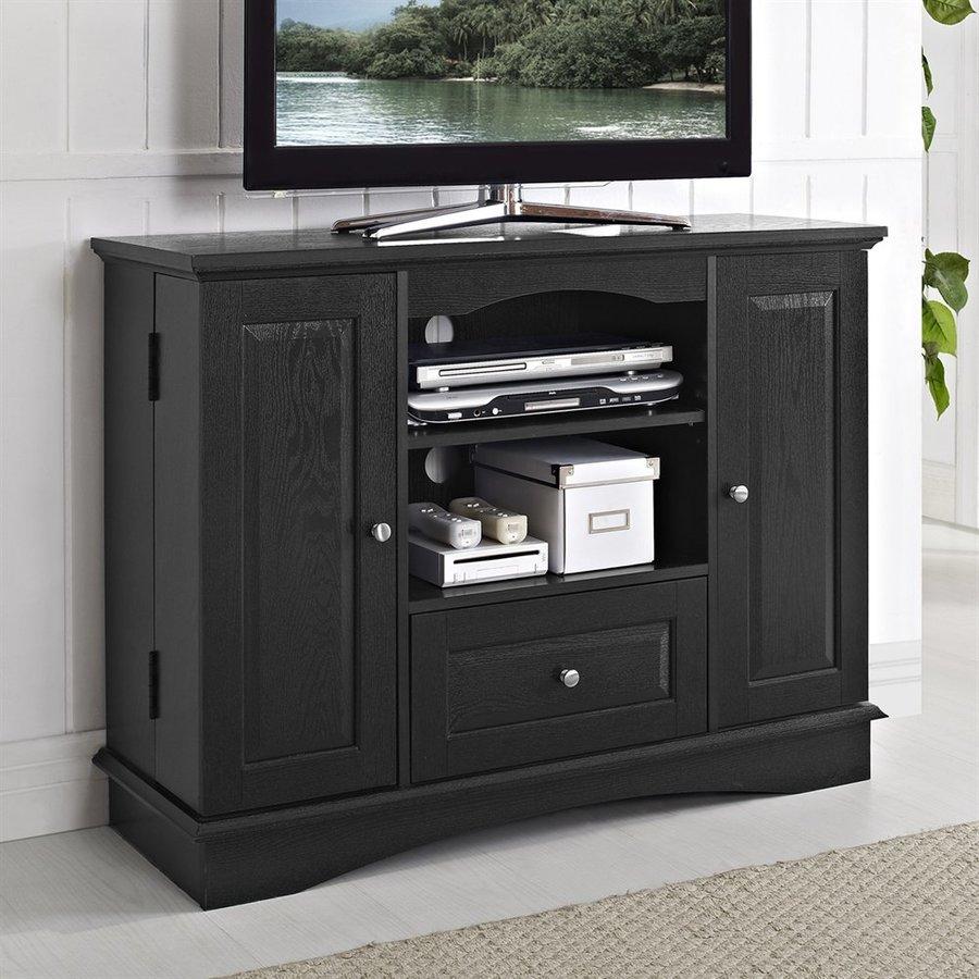 Walker Edison Black Rectangular TV Cabinet