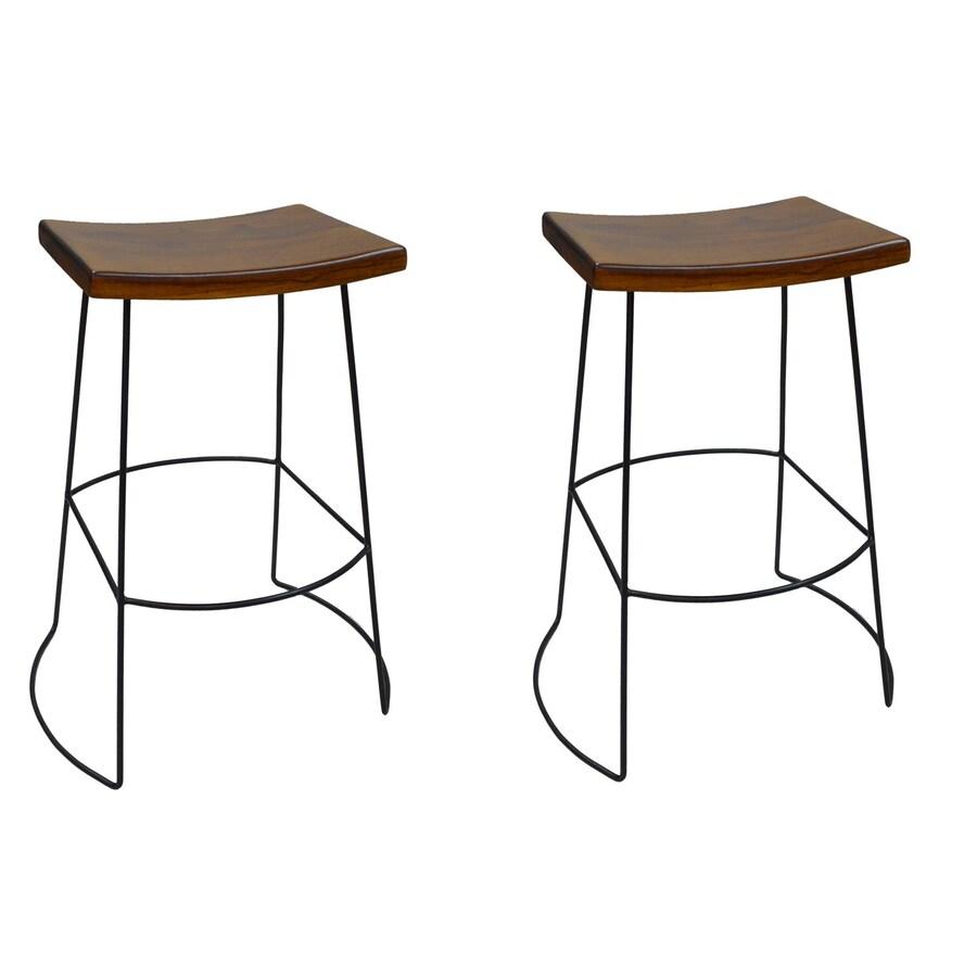 CAROLINA COTTAGE Reece 2-Pack Chestnut/Black 30-in Bar Stool