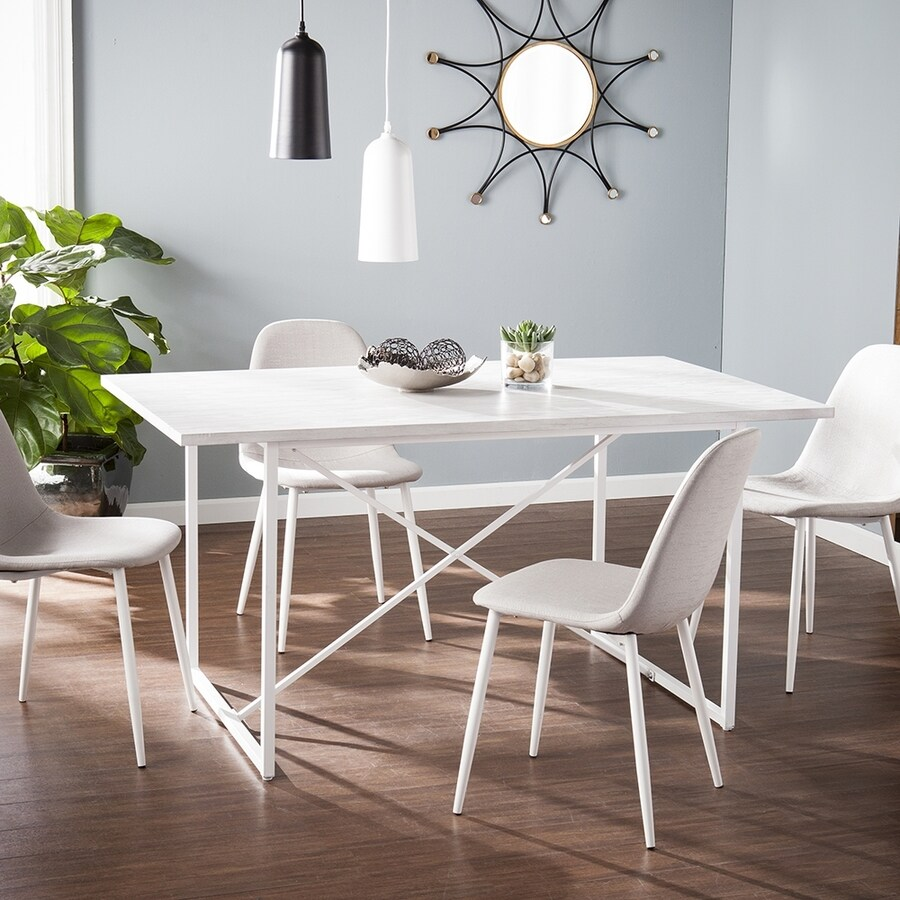 Boston Loft Furnishings Caradoc White-Washed Gray Dining Table
